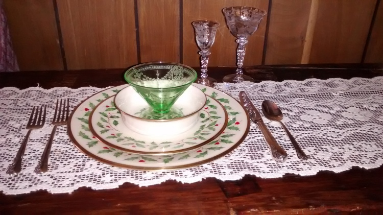 Lenox Holiday and etched stemware, depression glass