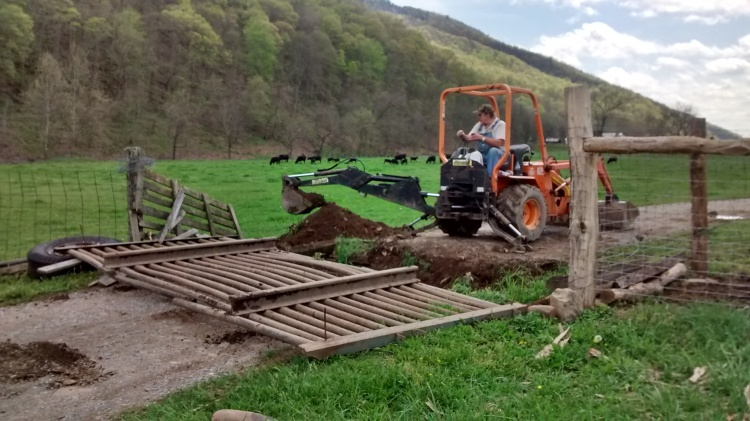 Terry, backhoe and cattle guard 2